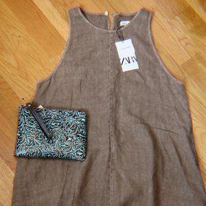 ZARA NWT Brown Linen Swing A-Line Dress Size Large
